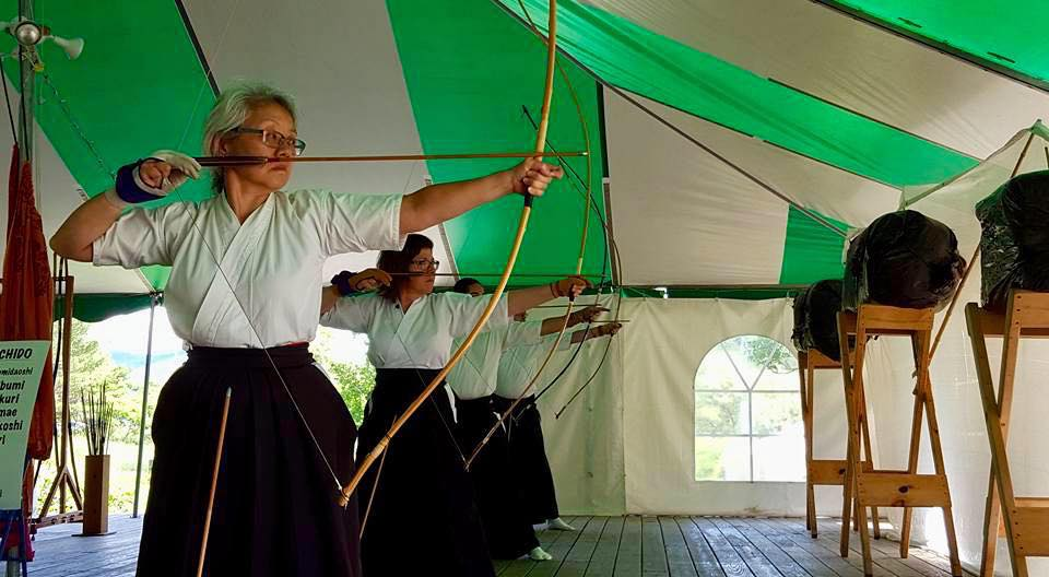 Lucy Halverson leads Kyudo in the Dining Tent